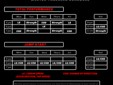 Winter Schedule for Parisi Speed and Strength Sessions