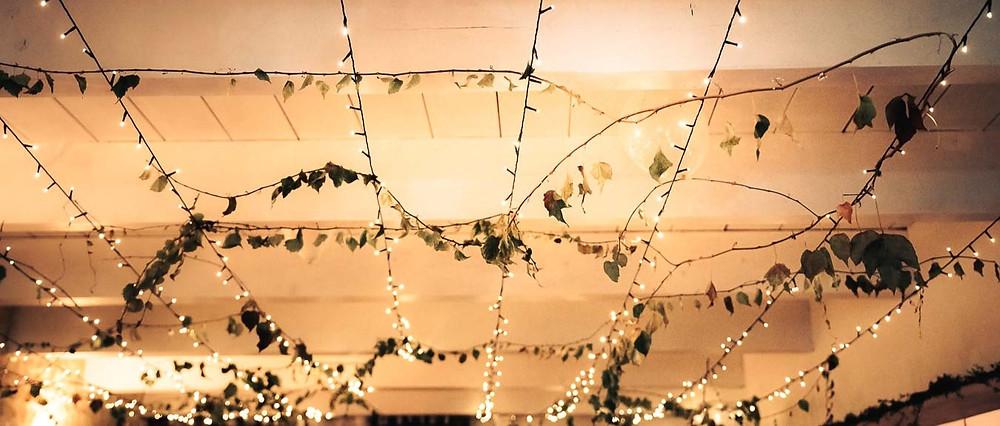décoration lumineuse au plafond, lierre