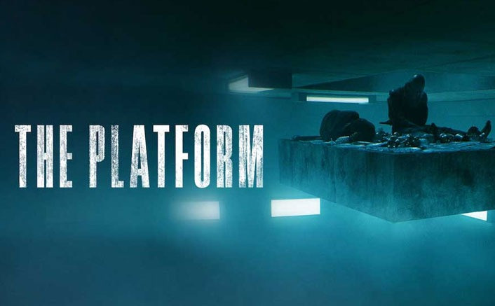 The Platform poster features a concrete slab in mid air on the right hand side, with 'THE PLATFORM' in all capitals and bold letters on the left hand side.