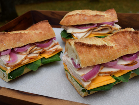 Turkey and Cheddar Cheese Sandwich with Herb Mayo and Pickled Red Onions