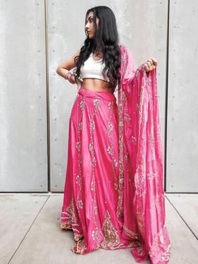 Pink Lengha Choli & Air Force Ones