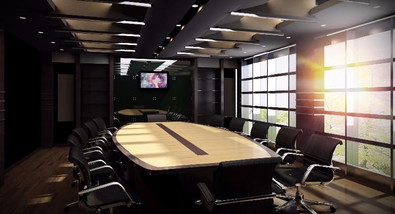 Sala de reuniones de una reforam de oficinas con mobiliario de diseño