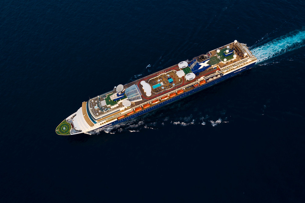Celebrity Constellation cruise ship aerial shot