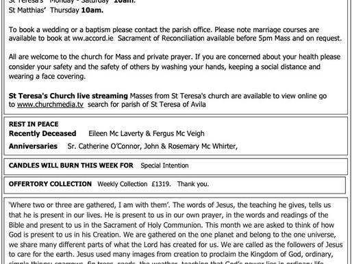 The St Teresa's Parish Bulletin for Sunday, 6th September 2020