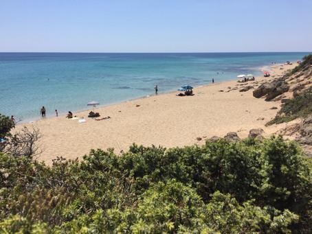 Haus-Strand im Juli