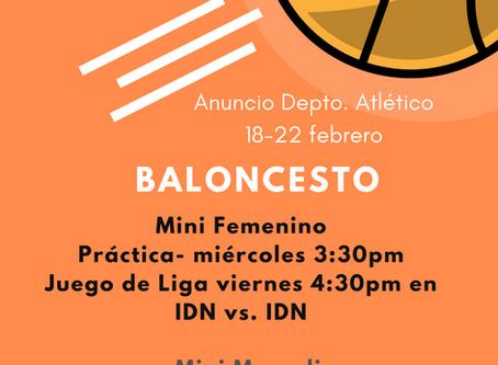 Anuncios Depto. Atlético (18-22 febrero)