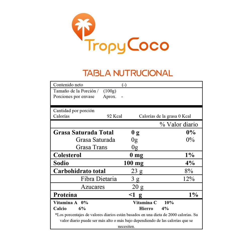 Tabla Nutricional Nata de Coco