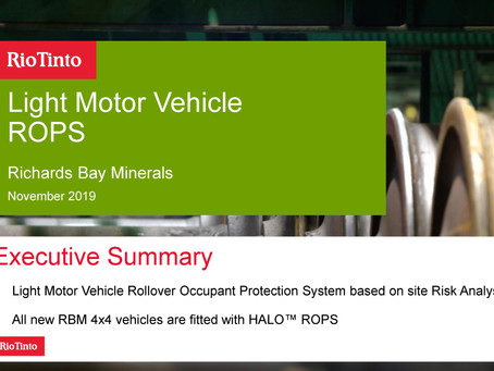 Rio Tinto: All new RBM 4x4 vehicles fitted with HALO™ ROPS