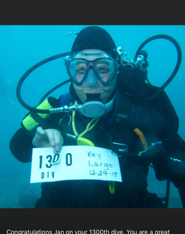Milestone HIT - Jan's 1300th Dive