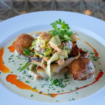 Fish tarragon, pan-fried shimeji, cucumber pickle, wild rocket By Chef Kerry Kilpin of Tryn.