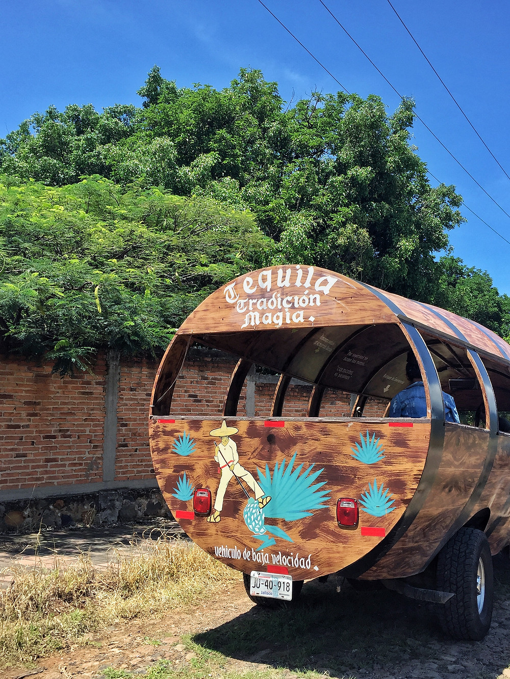 Barrel bus in Tequila town