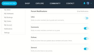 How to use toggles to change email notification settings for the Travel Forum