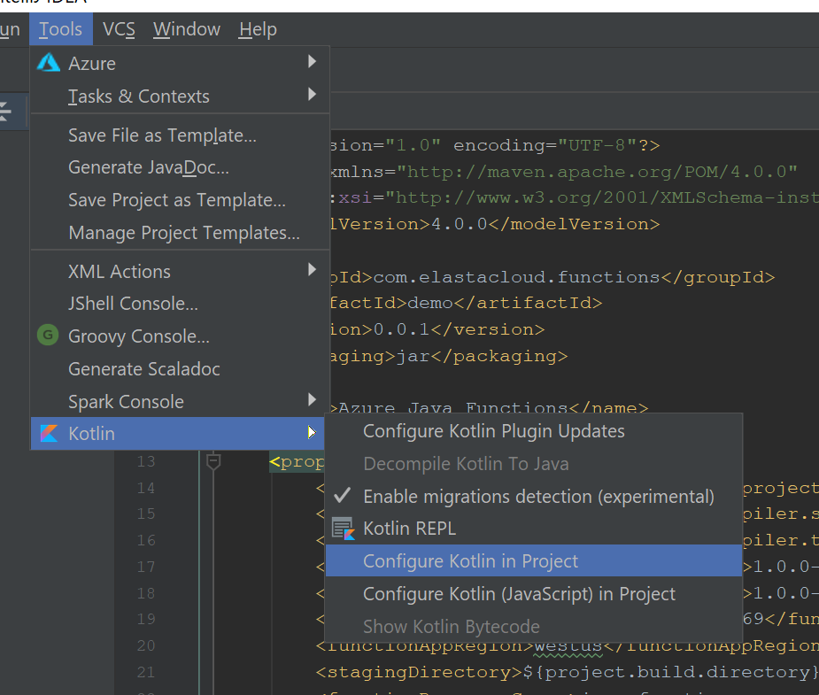 Configuring Kotlin in the project from the Tools menu