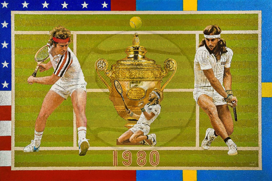 The painting The Drama of Wimbledon 1980