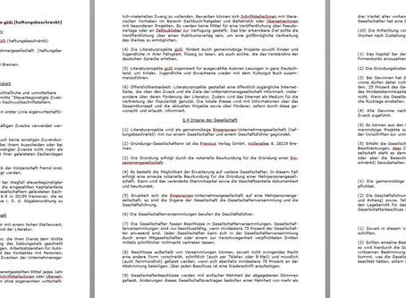 Die Satzung der Literaturprojekte gUG