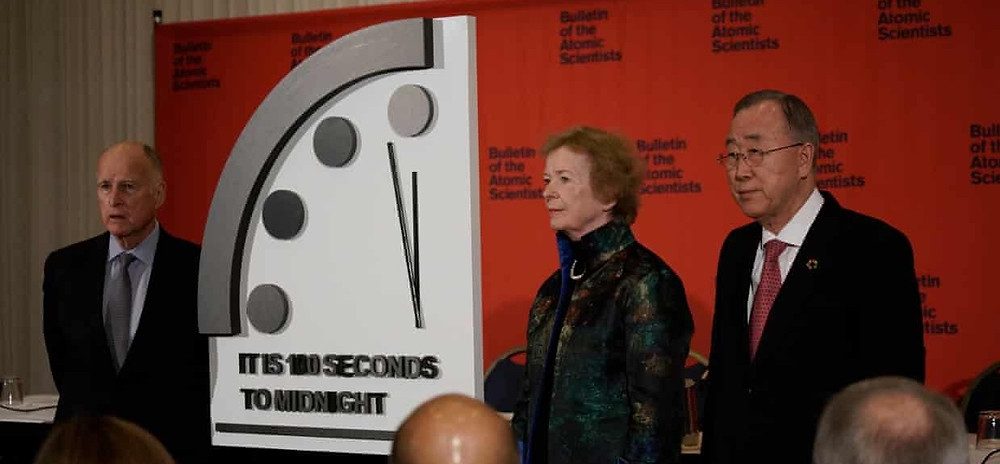 Doomsday clock set to 100 seconds to midnight (via The Guardian)