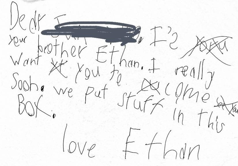 Ethan's note to his brother in South Korea!