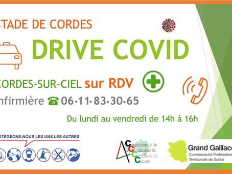 Drive Covid sur rendez-vous...