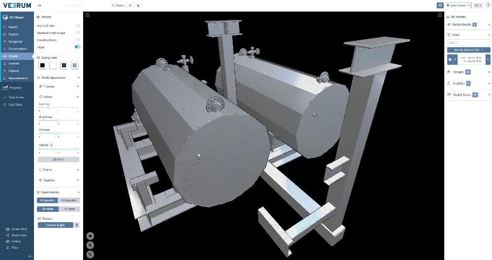 Different texture modes 3D visualization VEERUM