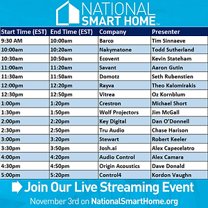 Are your ready for some #SmartHome!?! The largest and most passionate brands on the planet are hanging with you on your couch this Saturday November 3rd! This is the #mainevent of #homecontrol And #homeentertainment! Whether your curious about #lightingcontrol #streamingaudio#remotecontrol #voicecontrol #hometheateror or had any other #hometech questions, you will not want to miss this all day live stream!!