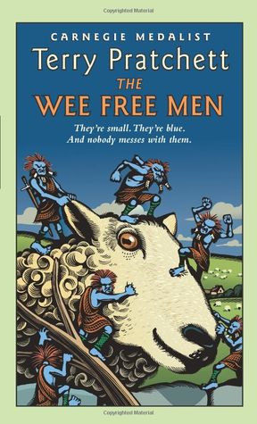 Small, blue troll-like men in kilts climb all over a  tranquil sheep