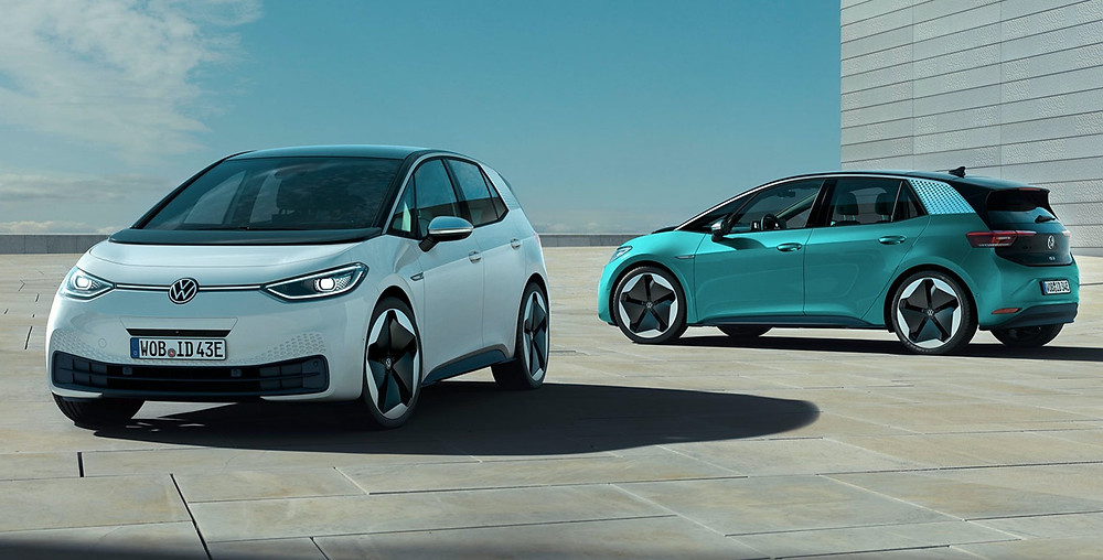 VW ID.3 electric vehicle front and rear angle, car trends auto