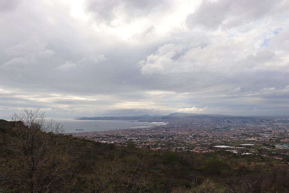View from above of Naples from Mount Vesuvius in Italy
