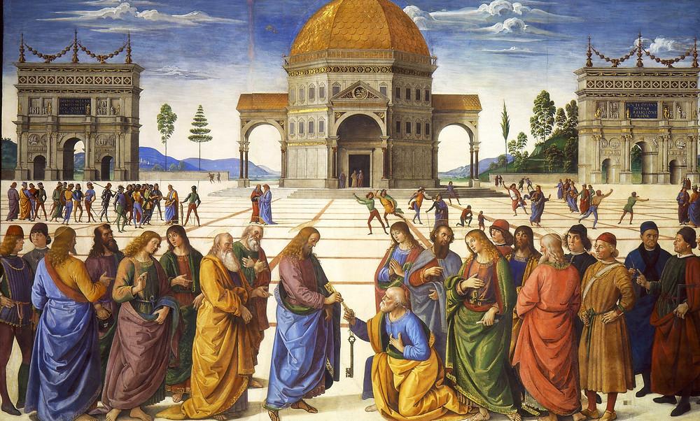 Pietro Perugino, Christ Giving the Keys to St. Peter, 1481-82