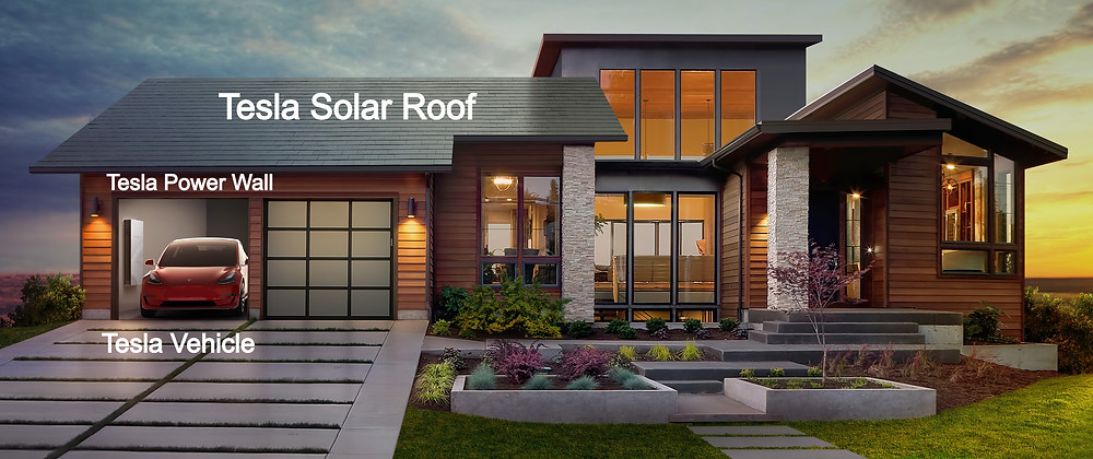 Tesla house with solar tesla car and tesla roof charger