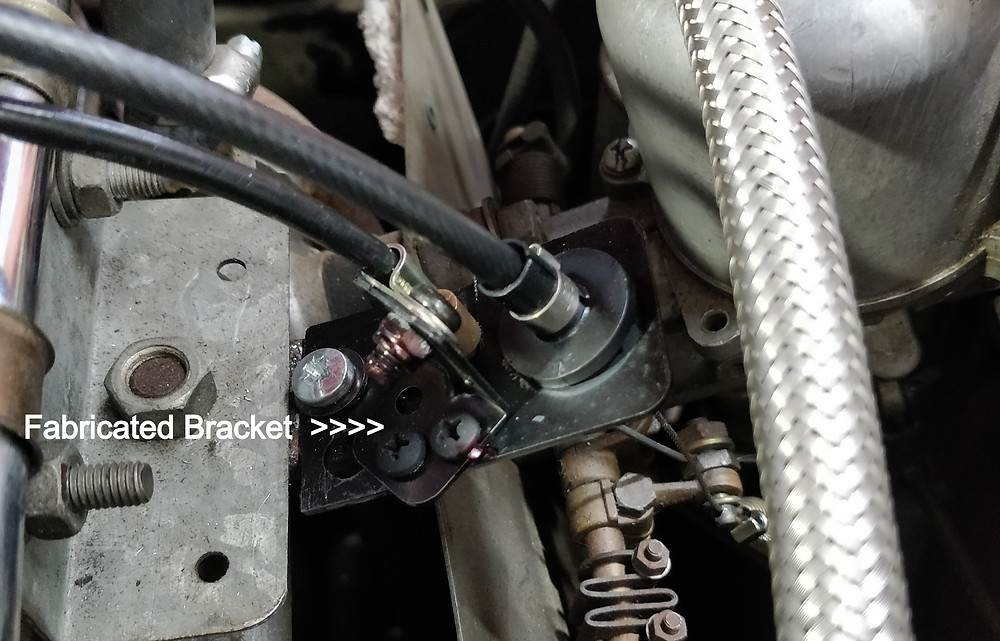 Bracket locating cruise and accelerator cable