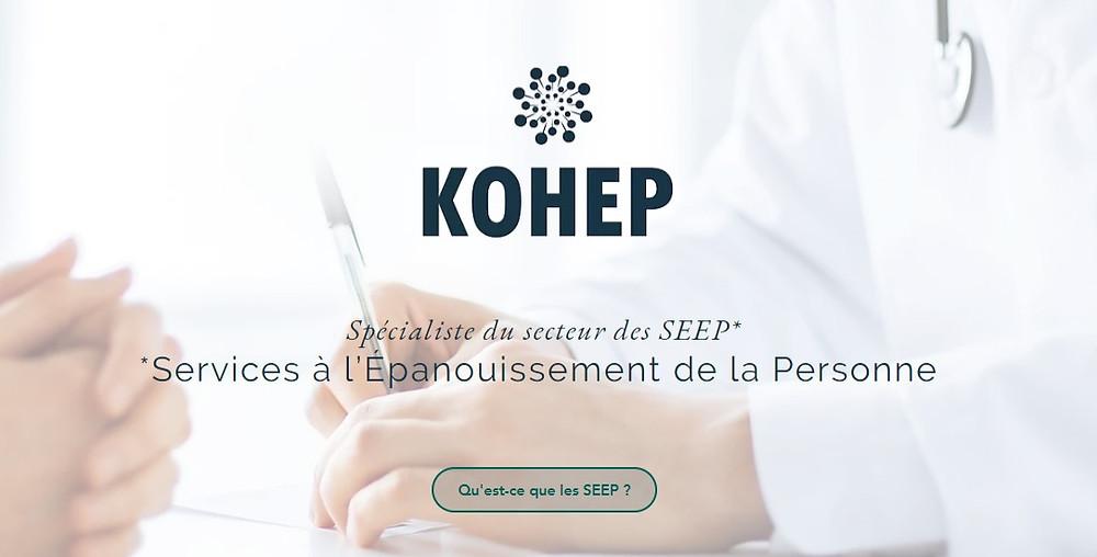 Site internet de présentation de KOHEP. KOHEP, spécialiste du secteur des Services à l'Épanouissement de la Personne (SEEP)