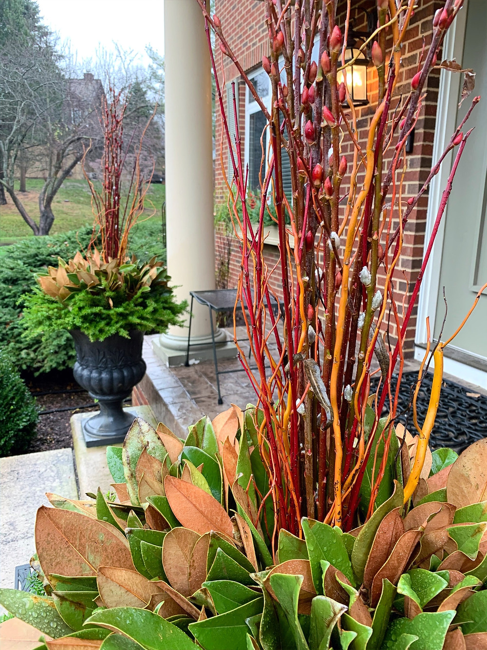 Dogwood and pussywillow centerpiece.