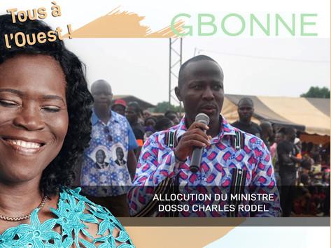 GBONNE : ALLOCUTION DU MINISTRE DOSSO CHARLES RODEL
