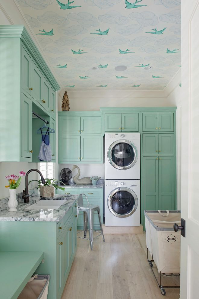 mint green country style kitchen design
