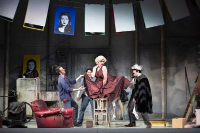 Yuriy Yurchuk as Marcello, Eleazar Rodriguez as Rodolfo, Henry Neill as Schaunard and Emyr Wyn Jones as Colline in Opera North's La Bohème c Richard H Smith