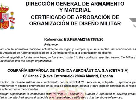CETA reconocida por la DGAM como ORGANIZACIÓN DE DISEÑO MILITAR en cumplimiento con la PERAM21