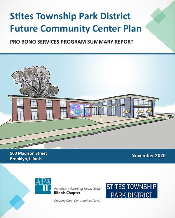 report cover with rendering of new building