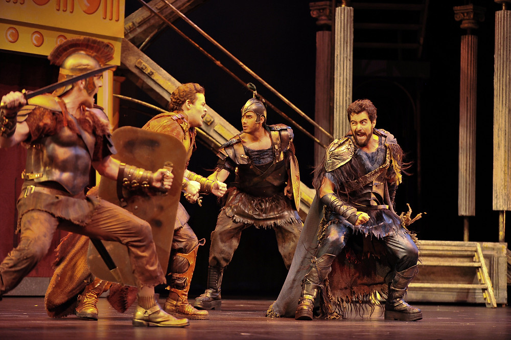 The Spartans & Athenians at war (Michael Mayes, Scott Scully, John Cabrali, and Seth Mease Carico; photo by Ellen Appel