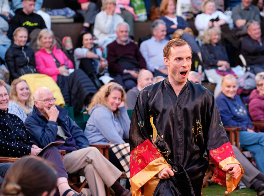 Samuel Collings as Malvolio Jessica Dives as Feste in Twelfth Night, Grosvenor Park Open Air Theatre, Chester, July 2019