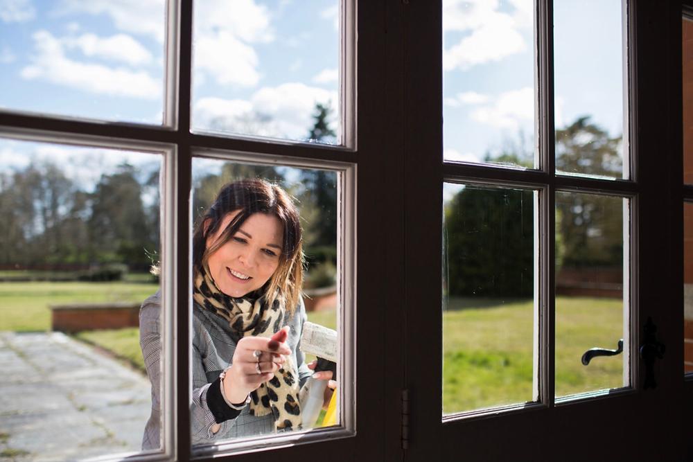 Inspecting the Orangery window