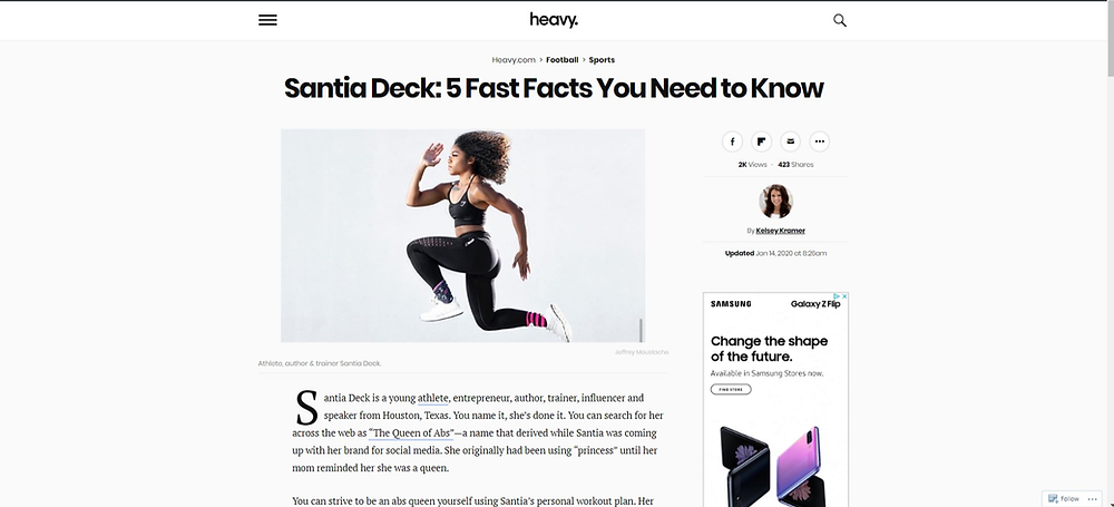 Santia Deck was featured on Heavy.com