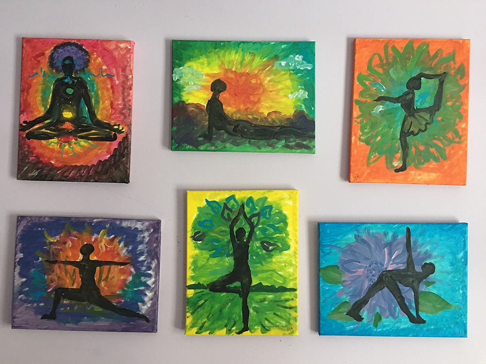 "This set of 11x14"" works were created by Alison Rawlins for testing a variety of fun ways to paint and stretch and have fun, then leaving with a work of art you can hang on your wall."