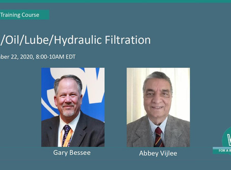 Hydraulic/Fuel Filtration, Sept. 22. 8-10 am EDT
