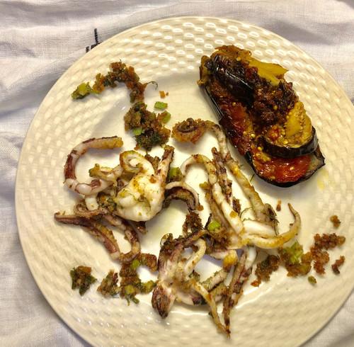 Stuffed eggplant and calamari