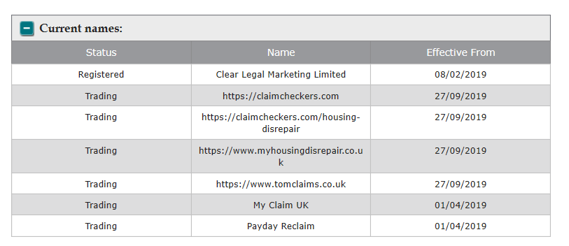 Clear Legal Marketing Ltd and trading styles