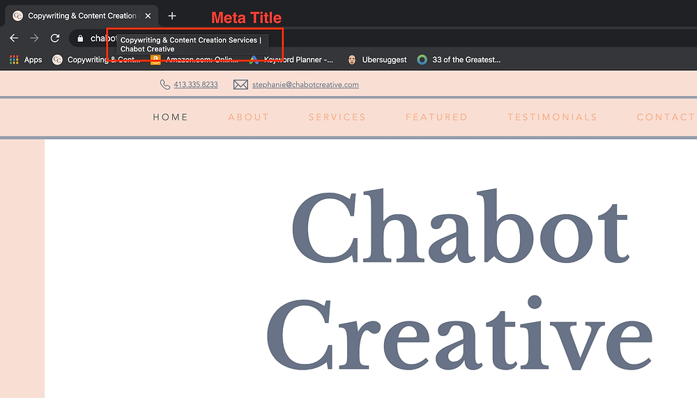 Chabot Creative Meta Title Example