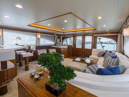 Sport Fishing Yacht Exterior with a Luxury Relaxing Oasis and Spa-like Interior