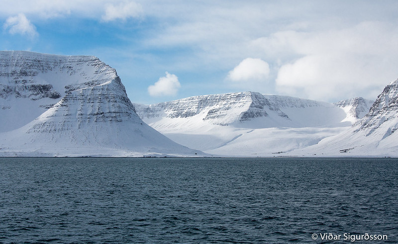 L'Arnarfjörður en Islande sous la neige en hiver