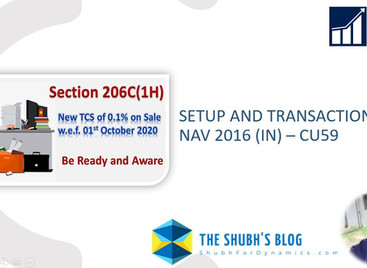 Section 206C (1H) for TCS: Setup and Transaction in NAV 2016 (IN)  Out of the Box functionality