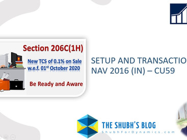 Section 206C (1H) for TCS: Setup and Transaction in NAV 2016 (IN)| Out of the Box functionality